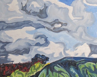 "Art Large Oil Painting Landscape Original Cloud Sky Impressionist Abstract Appalachian Quebec Canada By Fournier "" Over The Hill 30 x 24"