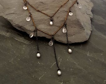 Tender Mercies - Pink Stone Pearl, Oxidized Silver Chain Layered Necklace, Stone Charm Gemstone, Rustic Delicate Edgy Artisan Gemstone