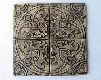 Replica Medieval Tiles Set of 4, Decorative Tiles