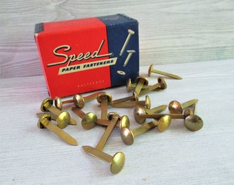 Vintage Box of Speed Extra Large Brass Paper Fasteners
