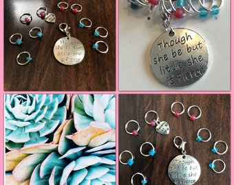 She Is Fierce Ring Stitch Marker Set, Progress Keeper, ring markers, knitting supplies, knitting markers, Clip on Charm, zipper pull