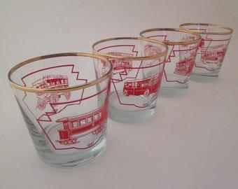 Cocktail Glasses set Vintage TTC Toronto lowball glass on the rocks glasses streetcar automobilia toronto transit street car corporate gifts