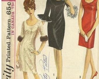 UNCUT Vintage 60's Simplicity  6171 Missses' Dress with Detachable Ruffle Bust 36 inches Complete Uncut