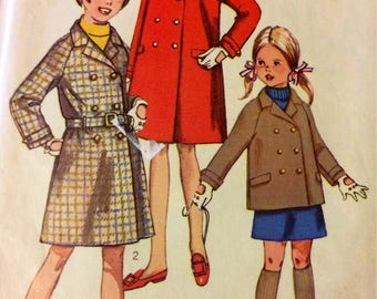 Vintage 60's Simplicity 7259 Girls' Coats  Sewing Pattern  Size 7 Double Breasted Coats  Complete
