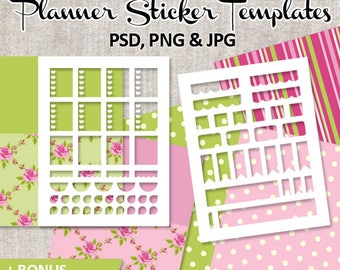 DIY Planner Sticker / Commercial use Blank template for  Erin Condren Life Planner stickers / shabby chic papers pink green / download