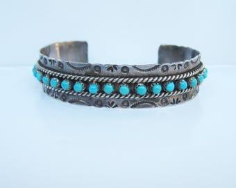 "Native American -  J. Ukestine - Zuni - Sterling Silver Stampwork and Snake Eye Turquoise Cuff Bracelet - 6-7""    1867"