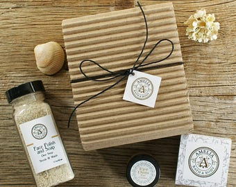 Lovely Face Set | Face Care, Facial Scrub, Facial Soap, Eye Cream, Natural Skincare, Facial Skin Care Set, Vegan Gift | Three Product Set