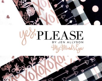 Yes Please Fat Quarter Bundle - Yes please collection by Jen Allyson for Riley Blake - 21 fat quarters, 100% cotton quilting fabric