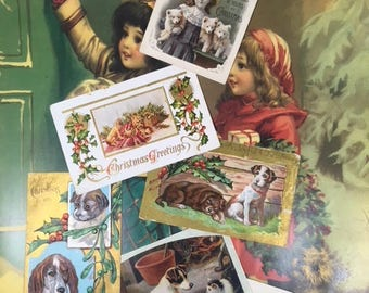 6 Vintage Christmas Postcards with Dogs