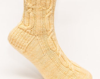 Wool Long Cable Socks, Ankle Length