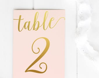 PRINTABLE Wedding Table Numbers 1-20 - Blush and Gold Table Numbers - Vintage Wedding - Blush Wedding - Romantic Wedding - Wedding Decor
