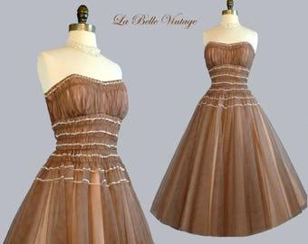 50s Strapless Party Dress S Vintage Ombre Mocha Tulle ~ Sparkling Sequin Trim
