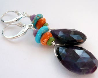 RARE Sugilite Spiney Oyster Gaspeite Turquoise Sterling Silver Earrings Colorful Rare Stone Southwestern Rustic Style Long Dangle Earrings