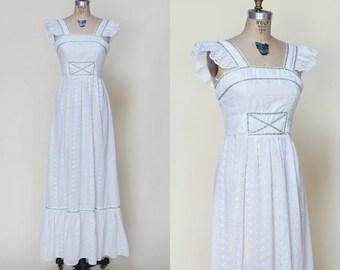 1970s Bohemian Wedding Dress --- Vintage Eyelet Maxi Dress