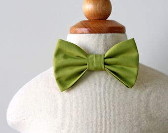 Green Cotton Bow Tie for Baby, Toddler, Kids, Boy, Ring Bearer