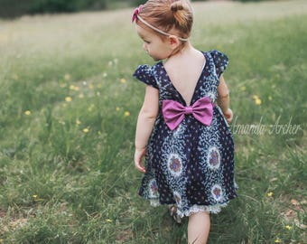 Flower Print Dress, Girls Birthday Dress, Toddler Birthday Dress, Flower Garden Party Dress, Vintage Floral Dress, Flower Birthday Dress