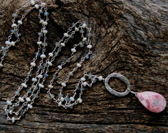 long rosary chain necklace, ckb creations, ckb, rhodocrosite necklace, pearl labradorite necklace, long grey pink necklace, gray pink white