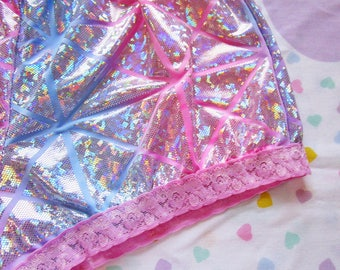 Holographic hotpants, pastel goth fairy kei 80s party roller derby plus size ombre extra large XL vaporwave