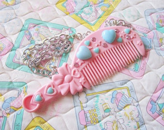 Doll necklace, hair comb hair dresser gift hairbrush fairy kei sweet lolita drag queen gifts under 20