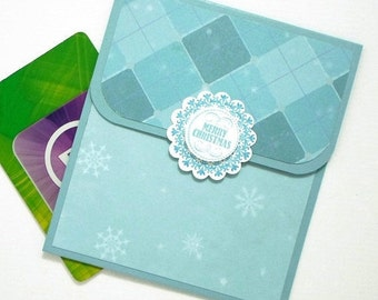 Christmas Gift Card Holder - Hand Stamped Blue Christmas Card - Christmas Money Envelope - Holiday Cards for Money