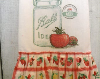 Mason Ball Jar Kitchen dish towel Tattered ruffles cotton Cherries Strawberries  Ecs RDT FVG team OFG team SVFteam