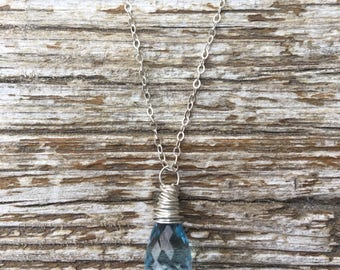 Micro Faceted Blue Topaz Sterling Silver Necklace
