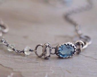 London Blue Topaz Bracelet - Topaz Bezel Bracelet - Rock Crystal Bracelet - Dainty Oxidized Sterling Silver Bracelet - Aquamarine Bracelet