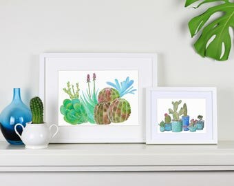 Turquoise Cactus Art print - succulents in turquoise pots pot plants artwork - watercolour and ink A5