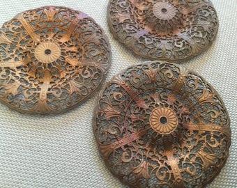 Beautiful Vintage Brass Filigree Stamping Finding (52mm)(1) Natural Patina