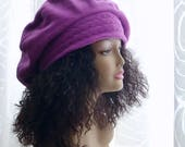 Slouchy Fleece Tam/Hats for Dreadlocks/Fuschia Color Hat/One Size XL