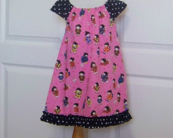 Girls Pink Tunic or dress. Back to School Dress  Infant and Toddler Pink Dresses or Top Girl Polka Dot Ruffle  Sizes infant 6 mth to girls 7