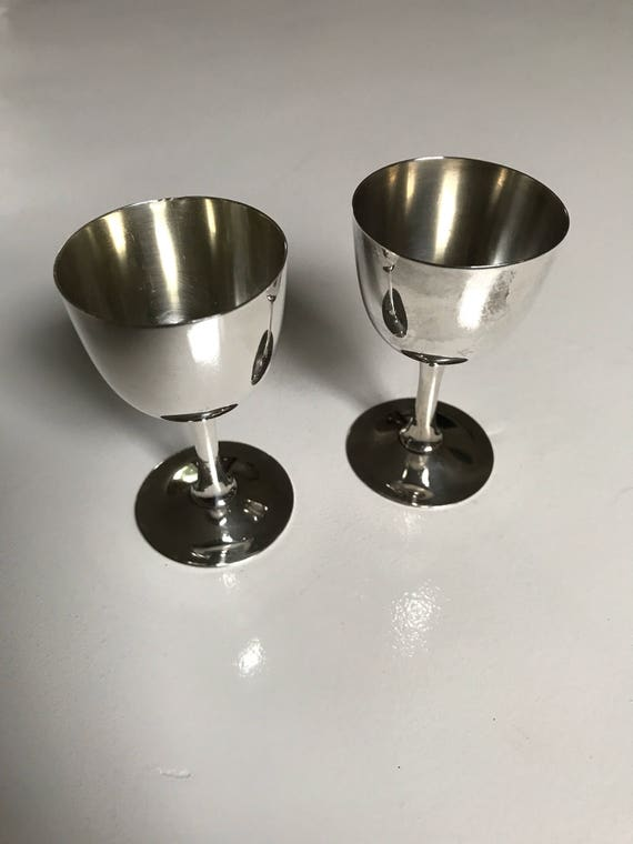 Japanese Gilded Sterling Silver Cordial Cup Set Hand Hammered (85 grams)