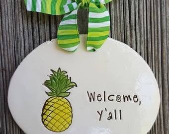 Welcome Pineapple Plaque, Ceramic Wall Sign