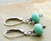 Real Turquoise Earrings - December Birthstone Jewelry - Earrings for Her - Blue Green Gemstone - Sterling Silver - Lever Back #4729