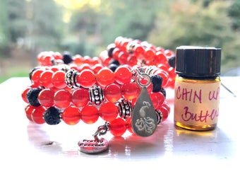 Carnelian Essential Oil Diffuser Bracelet Fully Adjustable with Sample of our Chin Up Buttercup Leadership Essential Oil Blend Aromatherapy