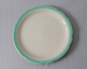 """15 Avail - Retro Diner Plates- Walker China- 1970s Restaurant Ware- Mint Seafoam Green Band- Bread and Butter Plates- Scalloped Edge- 6 5/8"""""""