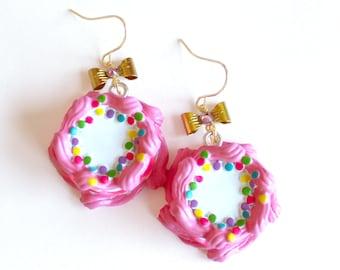 Rockabilly Earrings Pink Birthday Cake Earrings Cakes Earrings Pink Kawaii Earrings Pinup Jewelry Birthday Jewelry Miniature Food