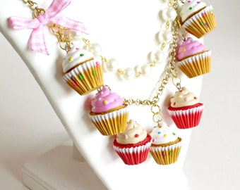 Pink Cupcake Charm Necklace, Bakeshop Collection, Kitsch Birthday Cake Statement Necklace Kawaii Jewelry Pinup Necklace, Rockabilly Necklace