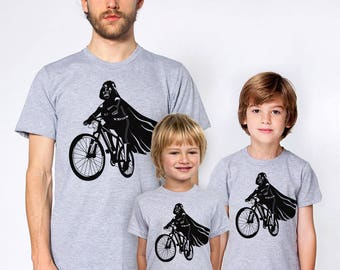 Father son matching t-shirt set, Darth Vader is riding it star wars family shirts, father's day gift, daddy and son, 3 shirts set for bikers
