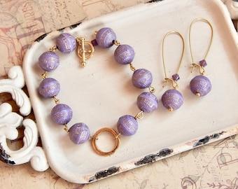 Josephine - lavender beaded bracelet - beaded earrings - lavender jewelry - purple