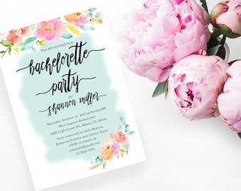 Printable Bachelorette Party Invitations 5x7, Watercolor Floral Invitation, Bachelorette Party, Bridal Shower Wedding Invitation, 5x7