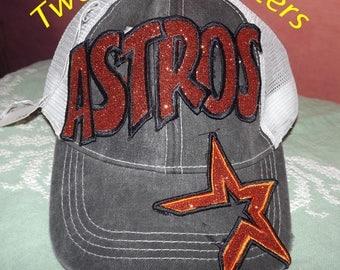 Houston Astros MLB Baseball Appliqued Embroidered Hat, Monogrammed Cap, Baseball, Cap, Trucker Cap