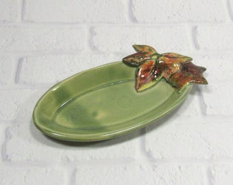 Decorative Tray - Dresser Valet - Trinket Tray - Appetizer Tray - Butter Dish - Ceramic Serving Tray - Pottery Cheese Server