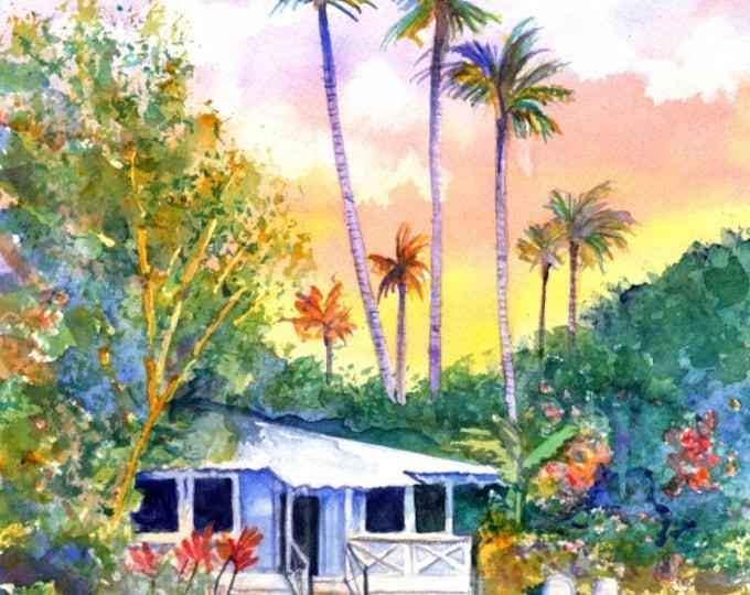 Blue Kauai Cottage Original Watercolor Painting from Hawaii Hawaiian kauaiartist plantation style cottages whimsical tropical art sunset