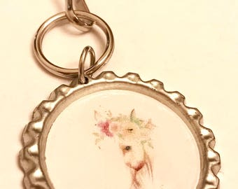 Floral horse keychain or zipper pull