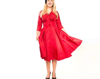 50s Cranberry Red Silk Taffeta Full Skirt Dress with Big Bow at Neckline - Sadye's Shop - M