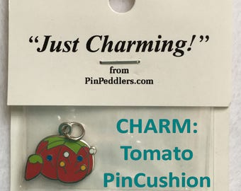 2 Set of TWO Charms, Tomato Pin Cushion  Shaped, Red, Green, Silver Colors