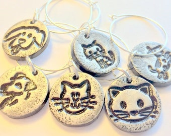 Pet Lover Wine Charms Handmade Black and Silver Dog and Cat Polymer Clay Wine Charms