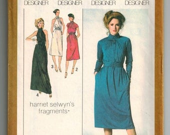 Vintage 70s Pullover Dress Sewing Pattern in Two Lengths and Cummerbund Size 6/8 Front Slash Opening Raglan Short Sleeve or Sleeveless