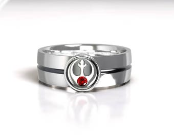 Star Wars Rebel Alliance Silver Wedding Ring Band With Ruby Size 9